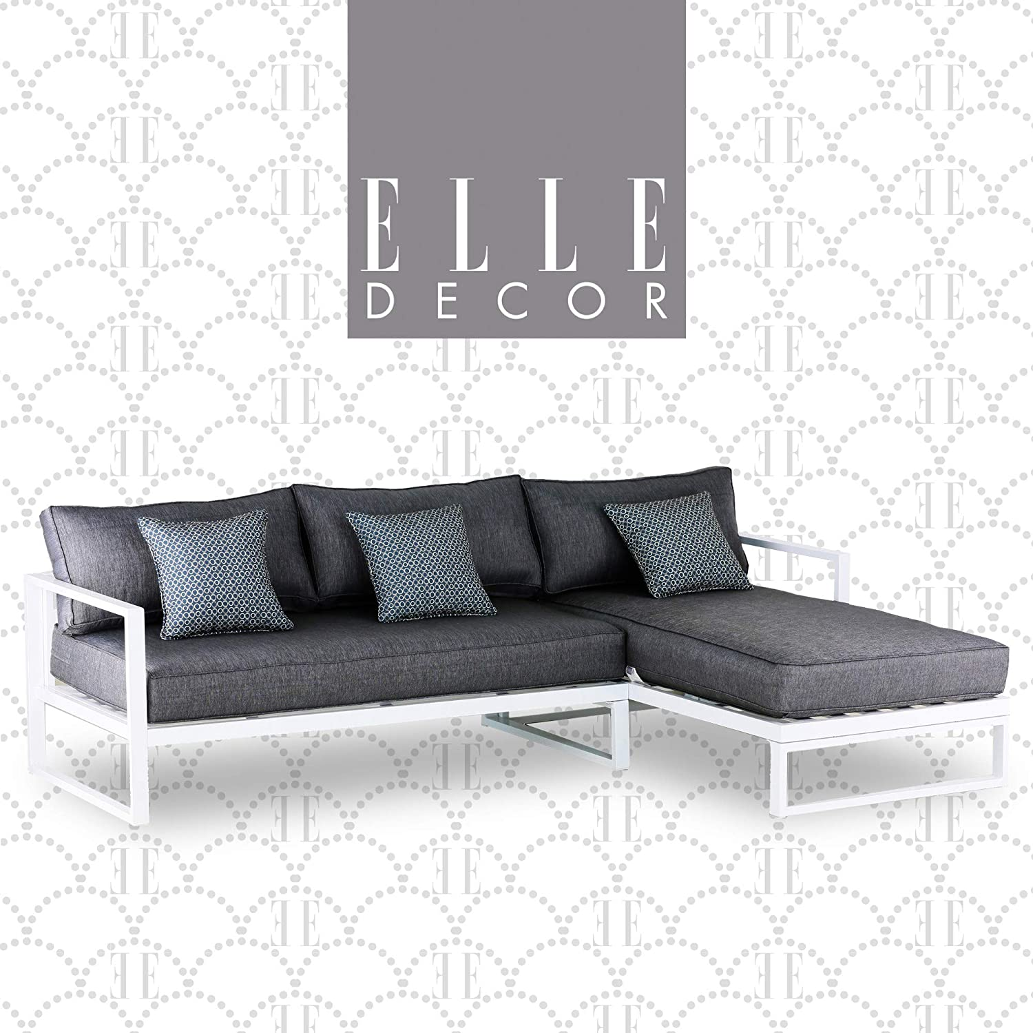 Elle Decor Paloma Outdoor Patio Furniture Collection in Weather-Resistant Metal Frame Patio Sectional, White