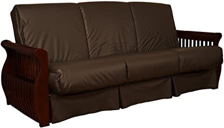 Laguna Perfect Sit Sleep Pocketed Coil Inner Spring Pillow Top Sofa Sleeper Bed, Queen-size, Mahogany Arm Finish, Leather Look Brown Upholstery