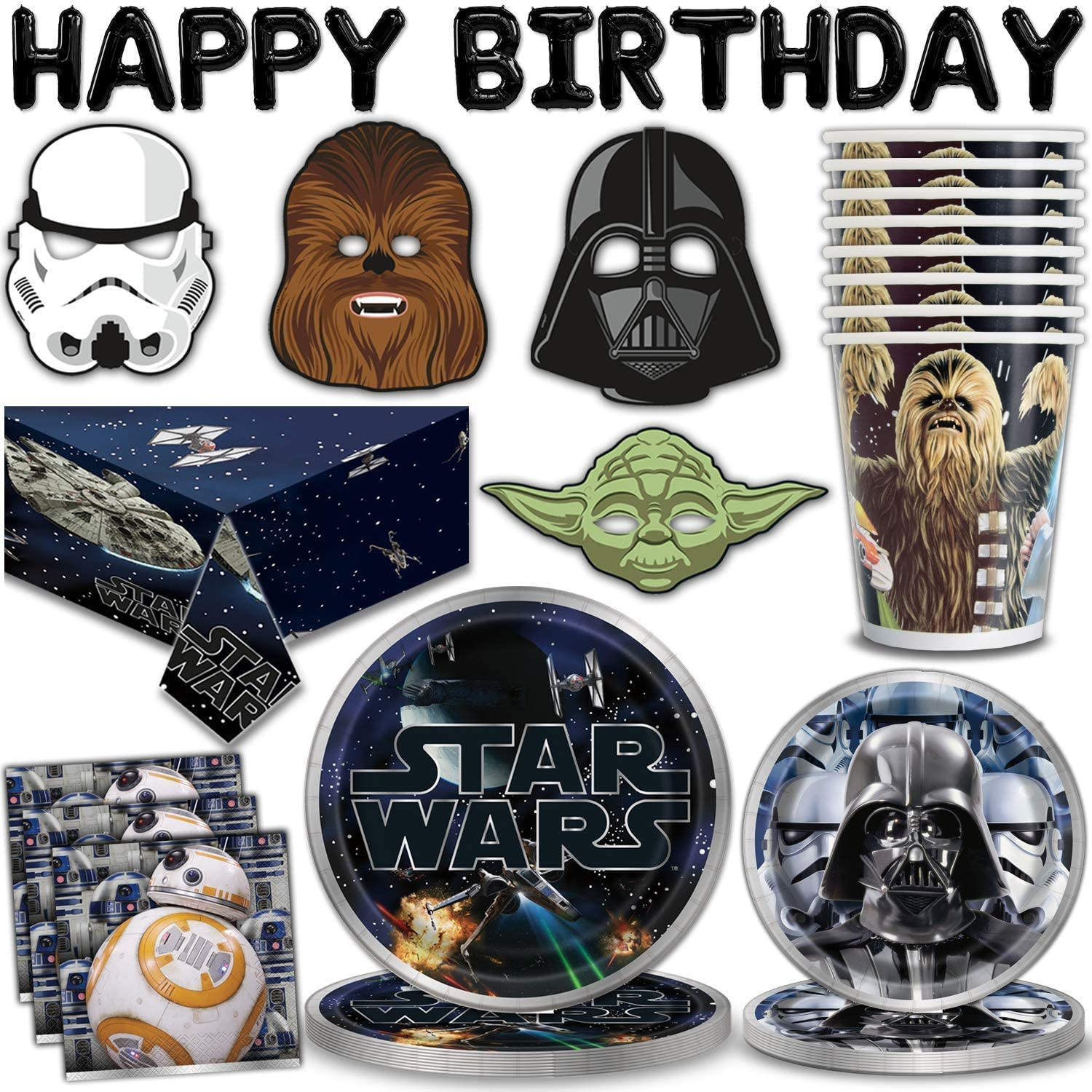 """Star Wars Party Supplies for 16 - Large Plates, Dessert Plates, Napkins, Masks, """"Happy Birthday"""" Letter Balloons, Table cover, Cups - Great Tableware Set w/ Darth Vader, Baby Yoda, Chewbacca & Stormtrooper"""
