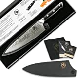 """Damascus Chef Knife by ACES - Japanese VG10 Carbon Stainless Steel, 67 Layer Super Sharp Steel 8"""" Chef's Knives - Ergonomic Military Aircraft Grade G10 Handle for Professional Use (BONUS Wood Sheath)"""
