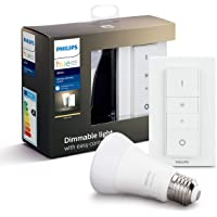 Philips Hue Smart LED Bulb White Dimming Kit E27 met Hue Dimmer Afstandsbediening Bluetooth-compatibel, werkt met Alexa