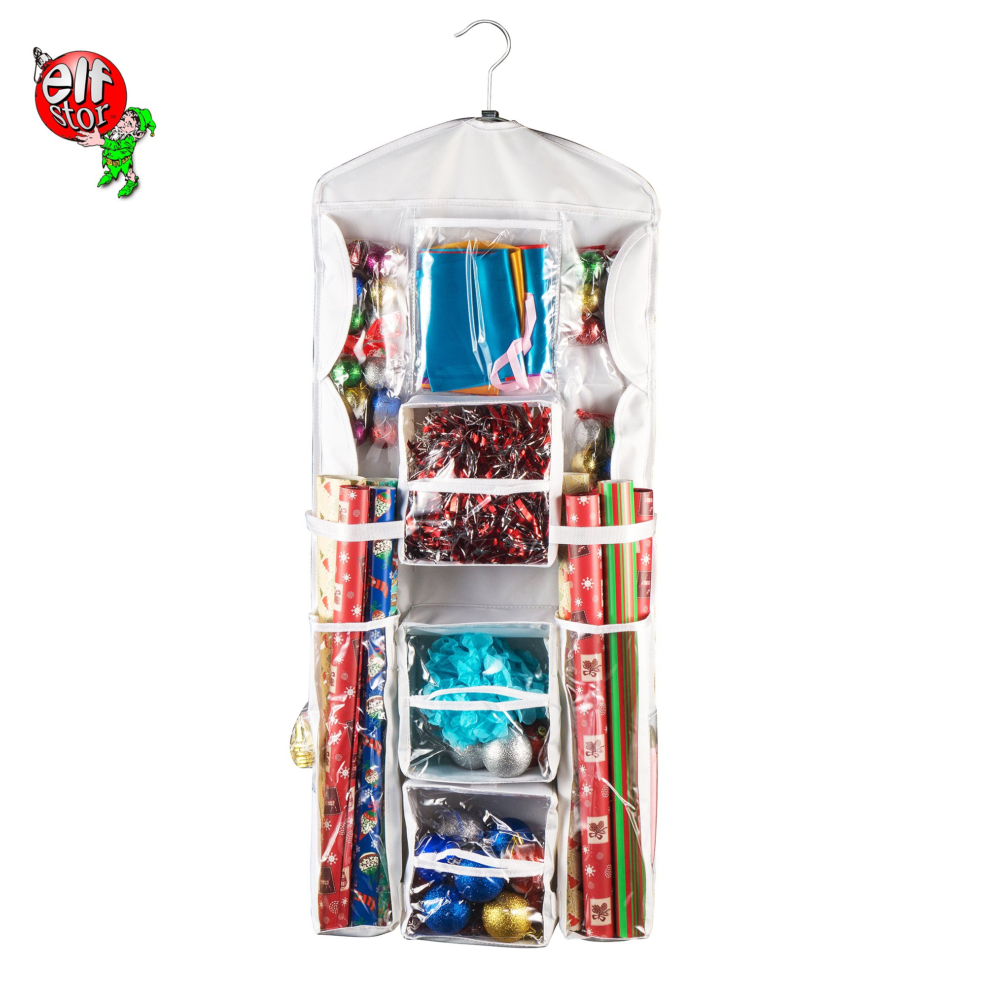 Elf Stor 83-DT5151 Double Sided   Hanging Gift Wrap and Bag Organizer   Space Saving  