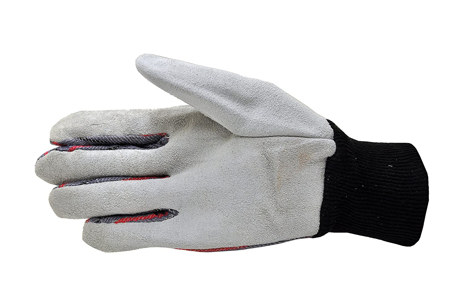 G & F 5004-5 Leather Palm, Canvas Back Knit Wrist Leather Work Gloves, 5-Pair Pack, Men's Large