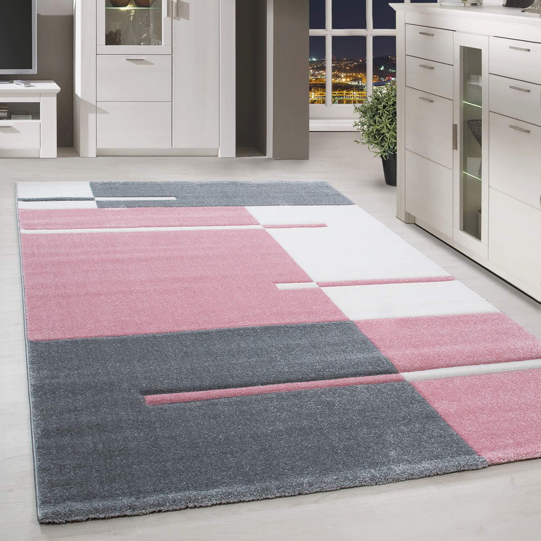 HomebyHome Moderner Design Kariert Stil Grau Weiss Pink Meliert Wohnzimmer, Größe:160x230 cm