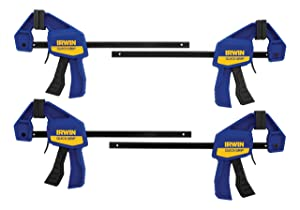 IRWIN QUICK-GRIP 1964758 One-Handed Mini Bar Clamp 4 Pack, 6""
