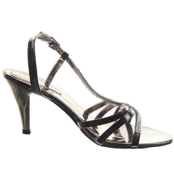Sopily - Scarpe da Moda scarpe decollete Stiletto da sera alla caviglia  donna strass multi-briglia Tacco a blocco tacco alto 8 CM - Nero WLDB1-OK-8  T 41: ...