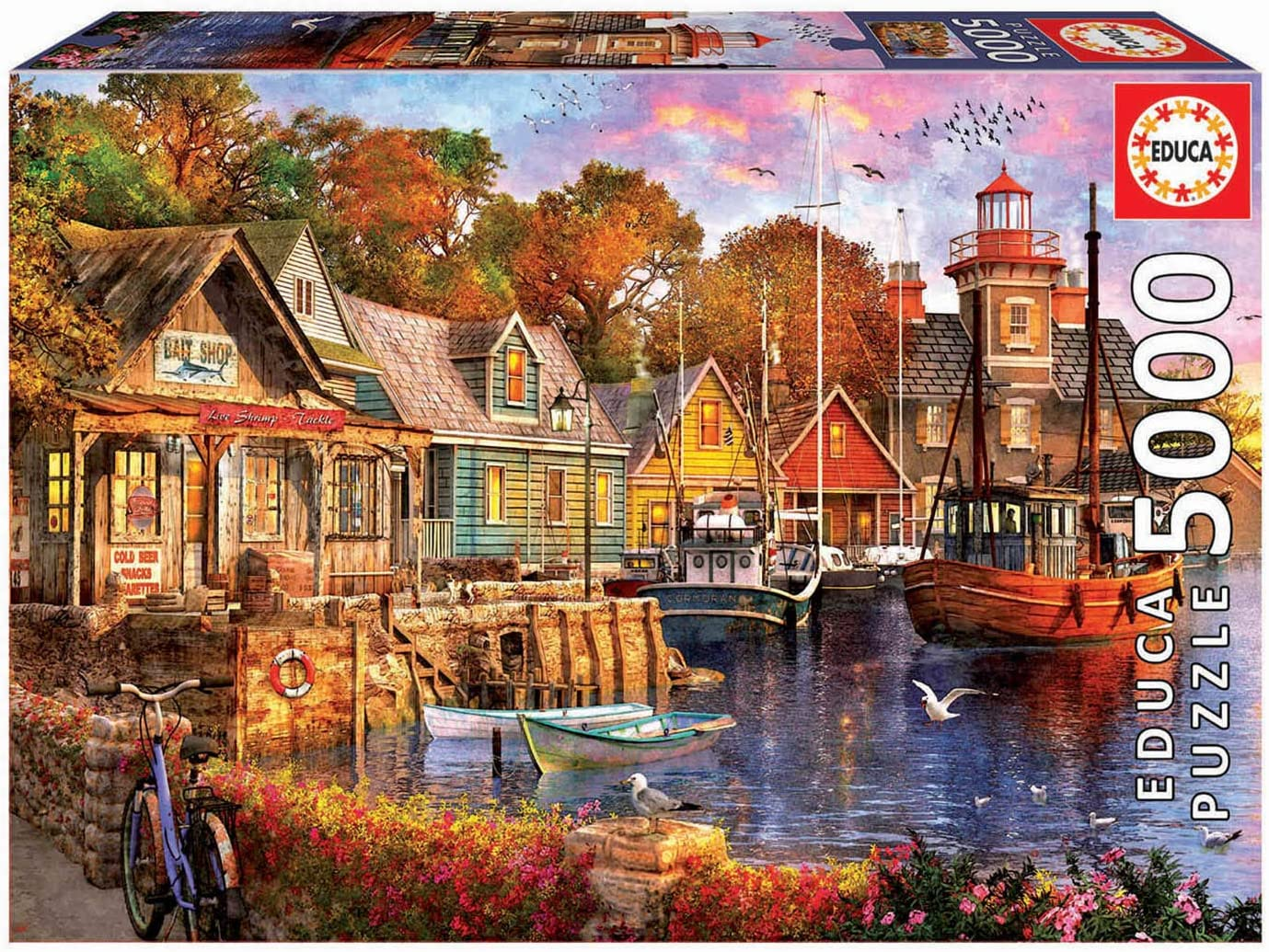 Educa Borras - Genuine Puzzles, Puzzle 5.000 piezas, Atardecer en el puerto (18015): Amazon.es: Juguetes y juegos
