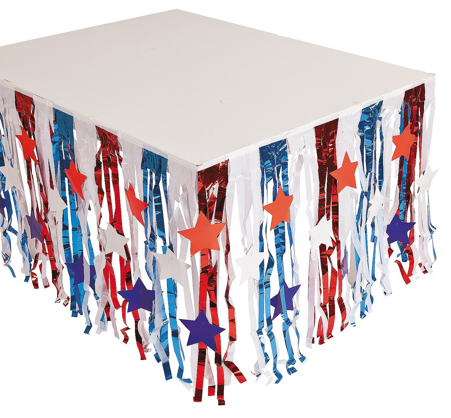 Foil Patriotic Fringe Table Skirt with Star Cutouts - 4th of July Independance Day Party Supply Fun Express 35/1017