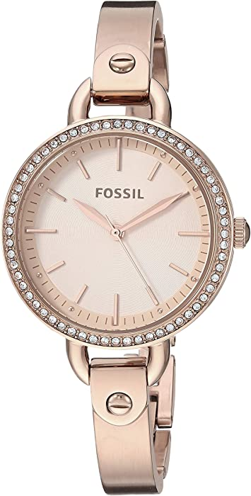 Fossil Womens Classic Minute Quartz Watch with Stainless-Steel-Plated Strap, Rose Gold