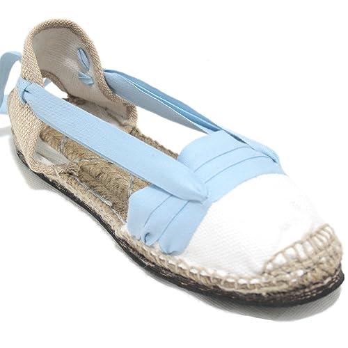 Alpargatas Tradicionales Planas Suela de Goma Diseño Tres Vetas o Tabernero Color Azul Claro: Amazon.es: Zapatos y complementos