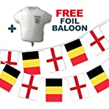 Party Decor Set to Celebrate Football World Cup 2018 - England vs Belgium match - bunting and free foil balloon