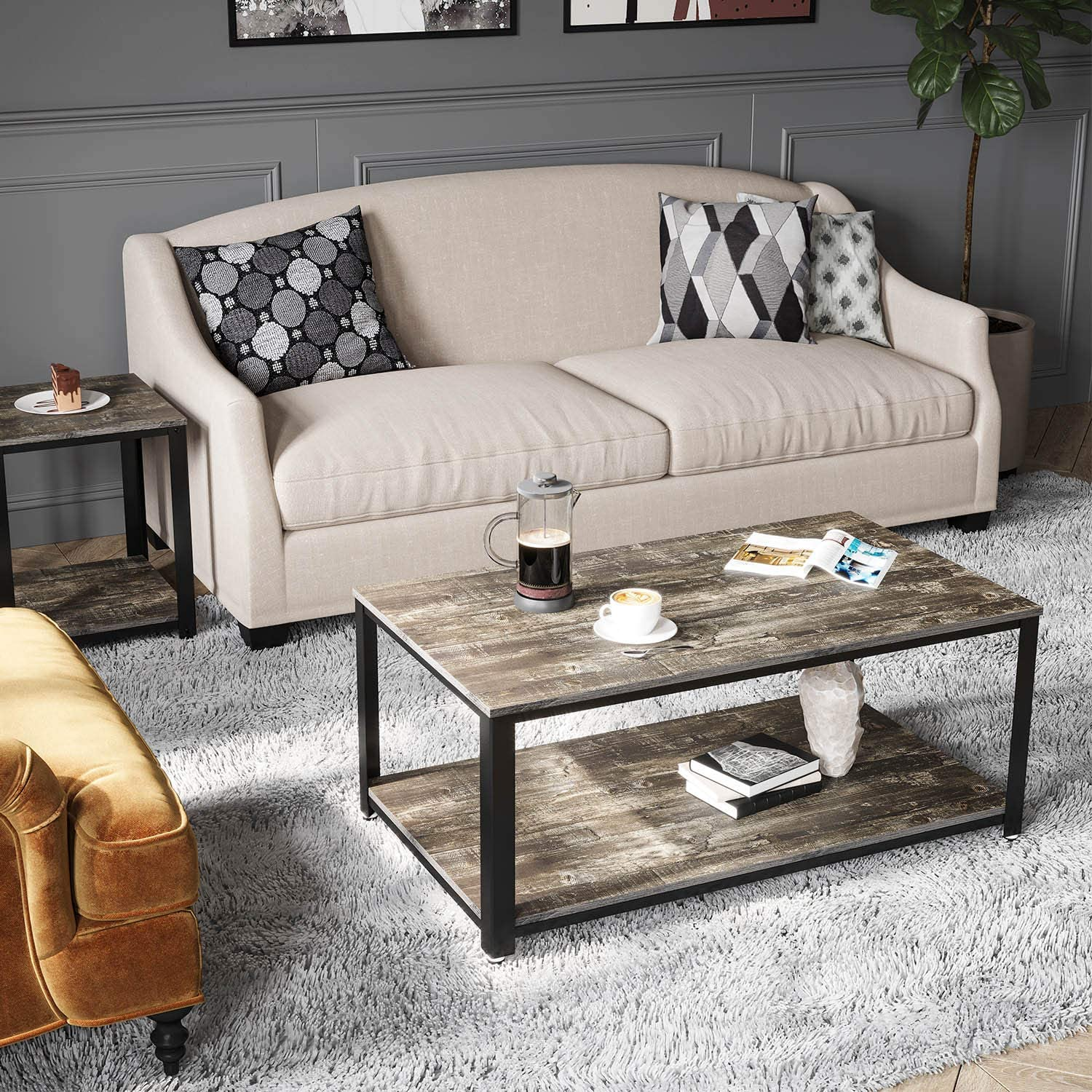 Rolanstar Coffee Table with Storage Shelf, Industrial Coffee Table for Living Room, Wood Look Accent Furniture with Stable Metal Frame CF001-C.