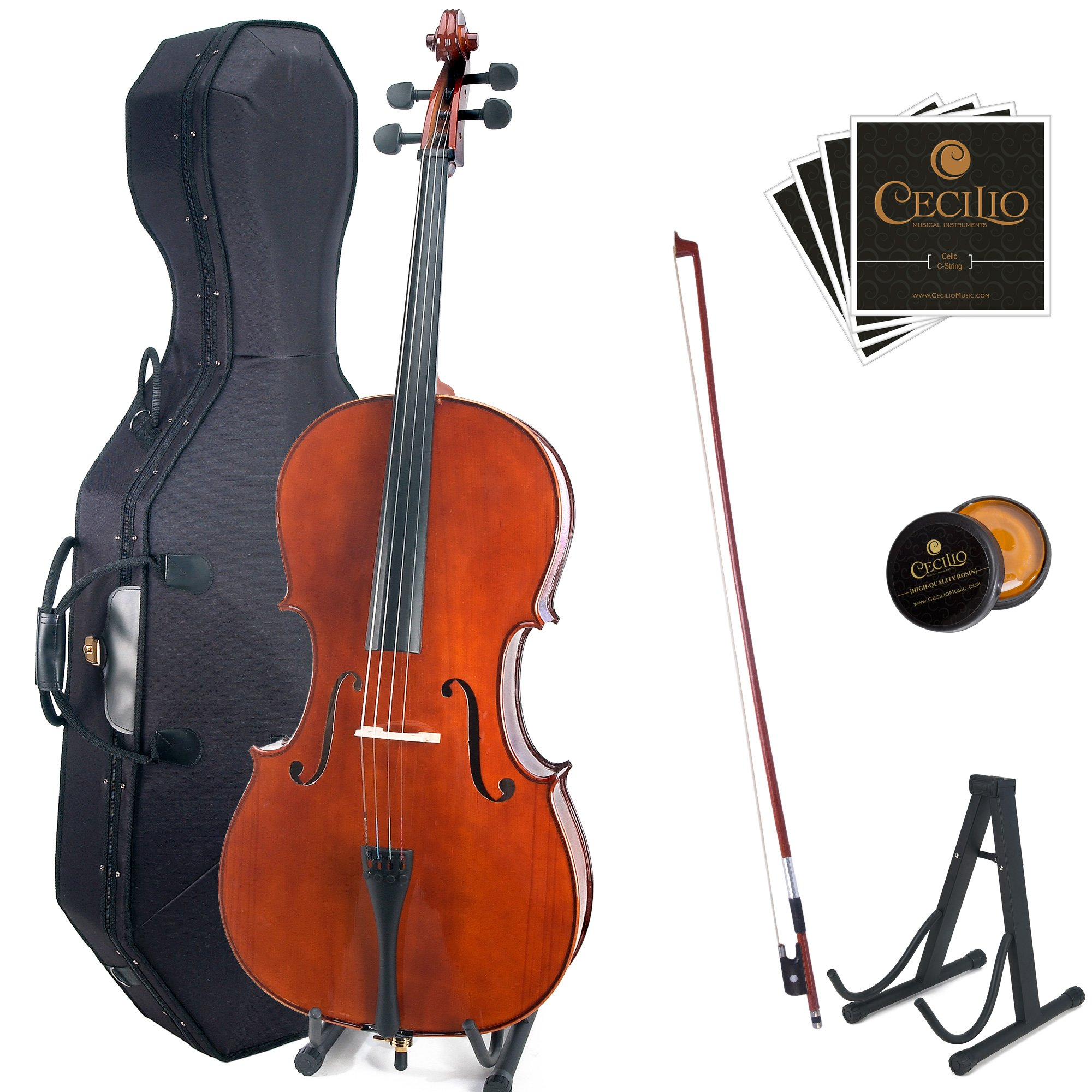 Cecilio CCO-200 Solid Wood Cello with Hard & Soft Case, Stand, Bow, Rosin, Bridge and Extra Set of Strings, Size 4/4 (Full Size) by Cecilio