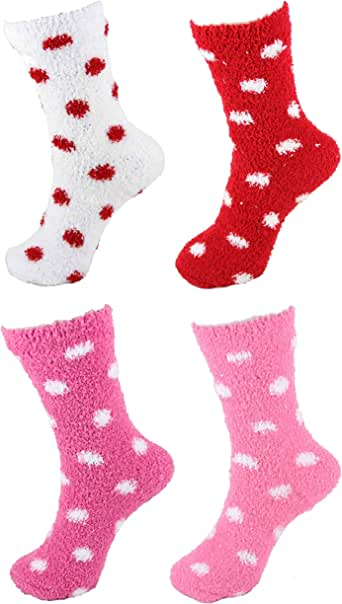 Super Soft Warm Fuzzy Stripe/Polka Dot/Gradient/Snowflake Socks - 4 Pairs