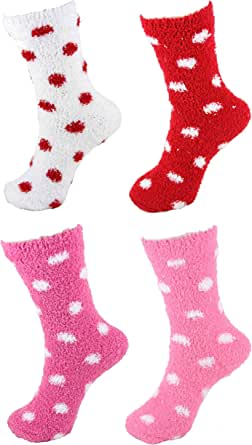 Super Soft Warm Fuzzy Stripe/Polka Dot/Gradient/Snowflake Socks - 4 Pairs