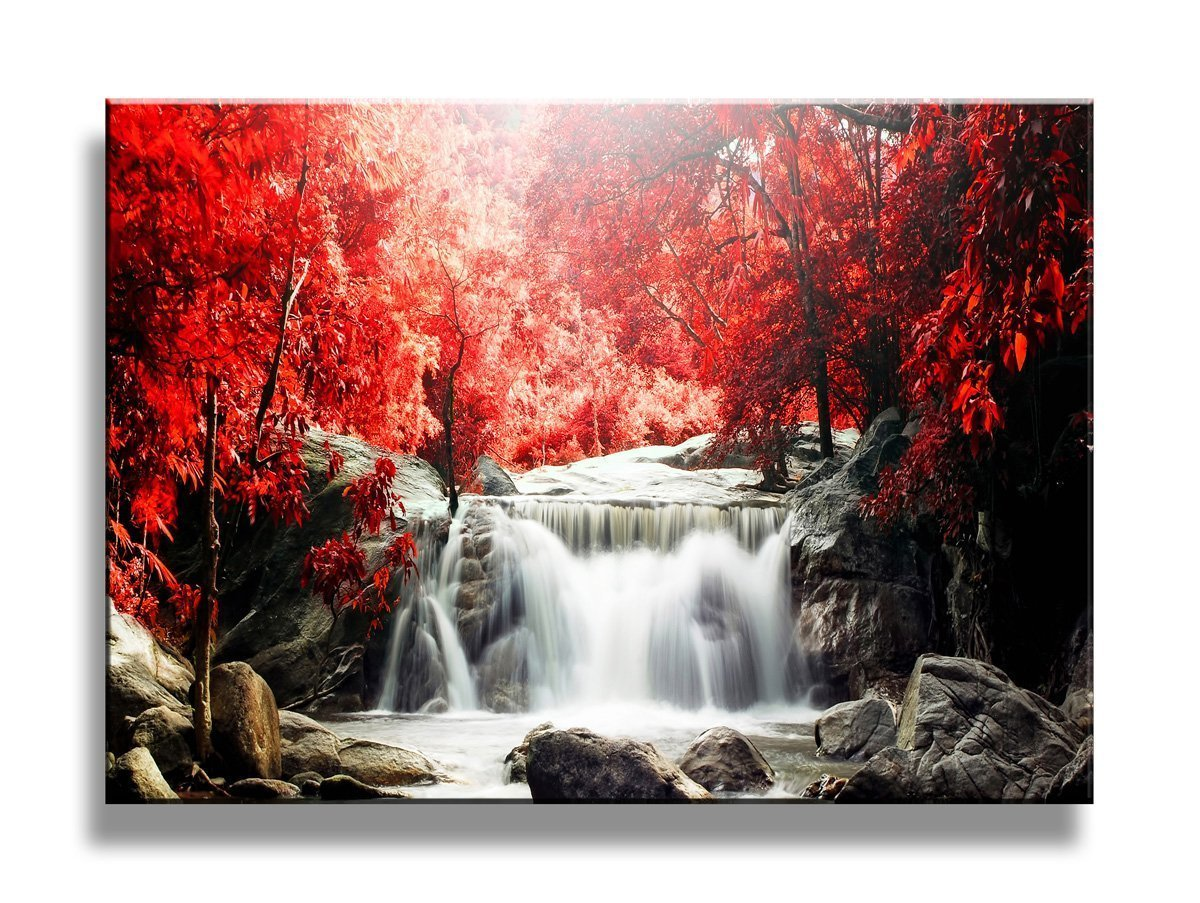 (Red) yixuanwall art -canvas Prints,Red waterfall Wall Art oil Paintings Printed Pictures Stretched for Home Decoration hs0013 B01GBIZ62Qレッド