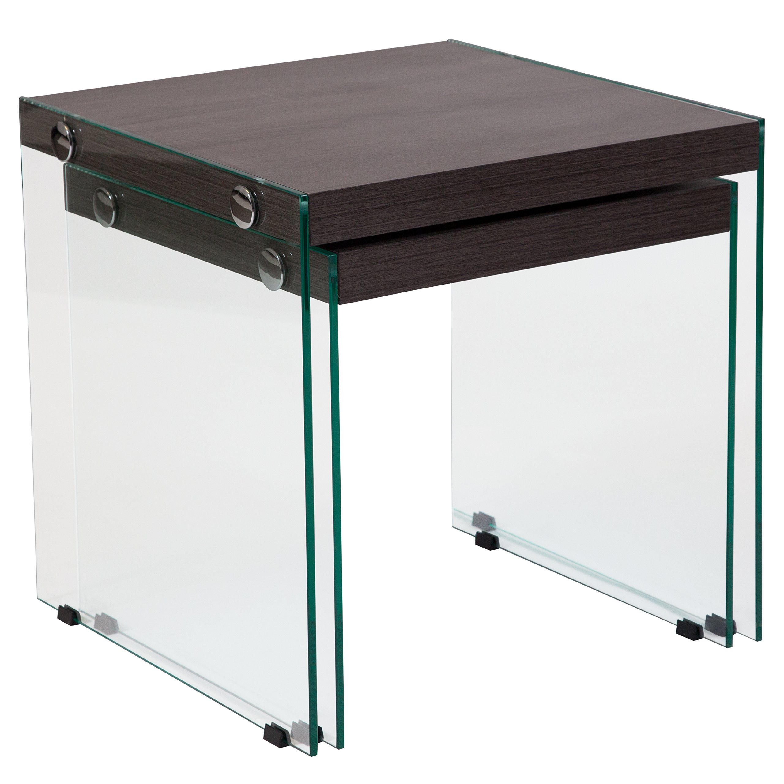 Flash Furniture Cedar Lane Collection Driftwood Wood Grain Finish Nesting Tables with Glass Frame