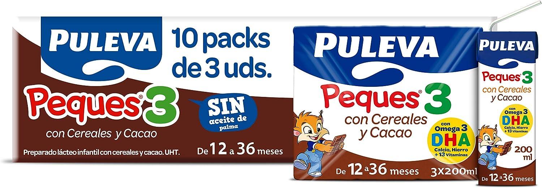 Puleva Peques Leche De Crecimiento Tipo 3 con Cacao y Cereales - 10 packs de 3 minibriks de 200 ml