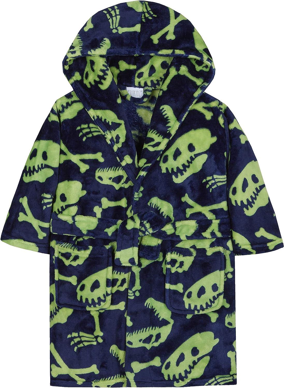 Minikidz Boys Dinosaur Bones//Skeleton Print Dressing Gown