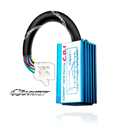 (ci2) umparts 5 pins blue racing performance no rev limit hyper ac cdi box  for taotao youth kids atv 4 wheeler 125cc tao tao ata-125d / ata-125-d / ata  125