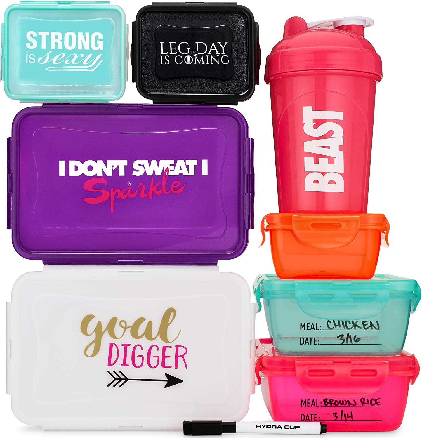 Hydra Prep [12 Piece] Reusable & Recyclable Meal Containers with Snapping Lids, Multi Colored Meal Prep Storage Containers with Marker System & Shaker Bottle