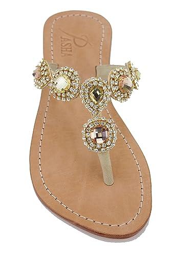 00b253833 PASHA Genuine Leather Jeweled Sandals MYLOS (5)