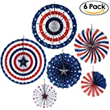 PBPBOX Presidents Day Paper Fan Decorations Patriotic Decorations for Lincoln's Birthday Washingtons Birthday, Pack of 6