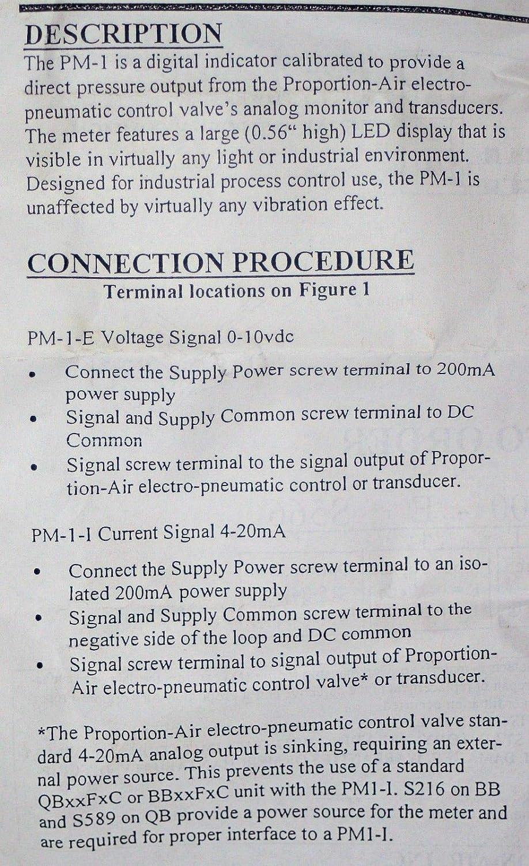 PROPORTION AIR PM-1 Digital LED Pressure Indicator PM-1-010-E