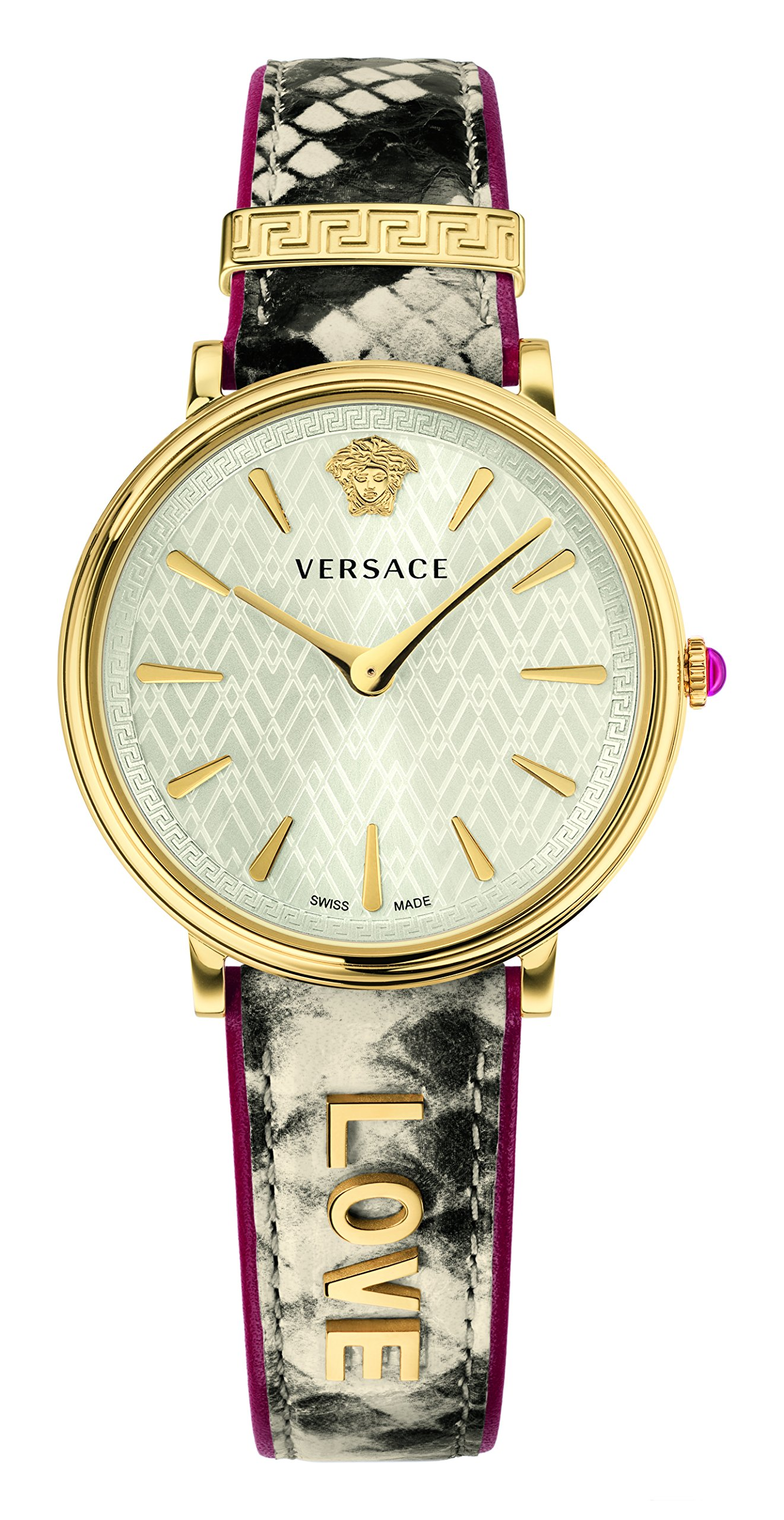 Versace Women's 'MANIFESTO EDITION' Swiss Quartz Gold-Tone and Leather Casual Watch, Color:Beige (Model: VBP080017)