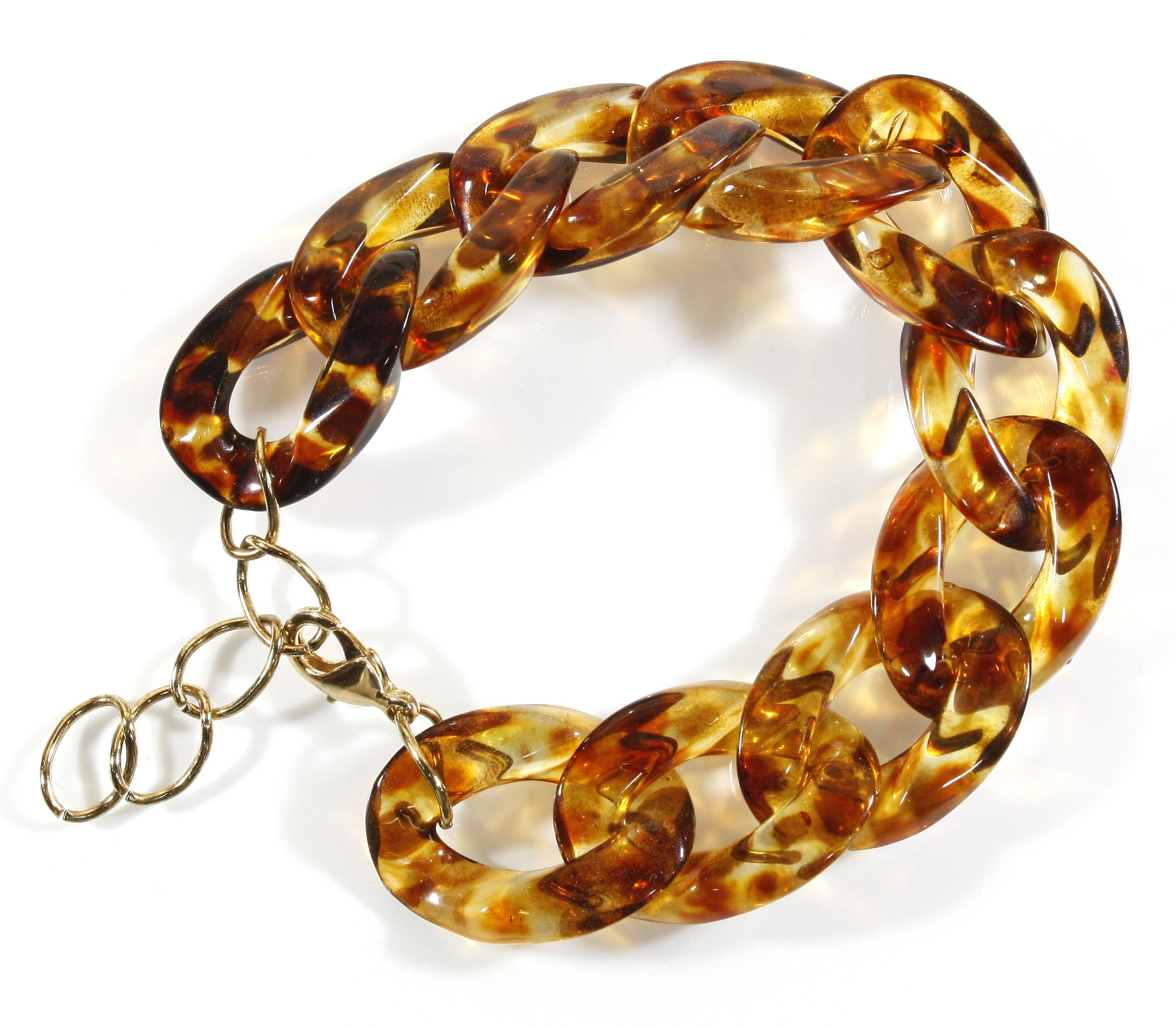 Style-ARThouse Curb Appeal, Tortoise Shell Pattern Lucite Bracelet, Size Adjustable