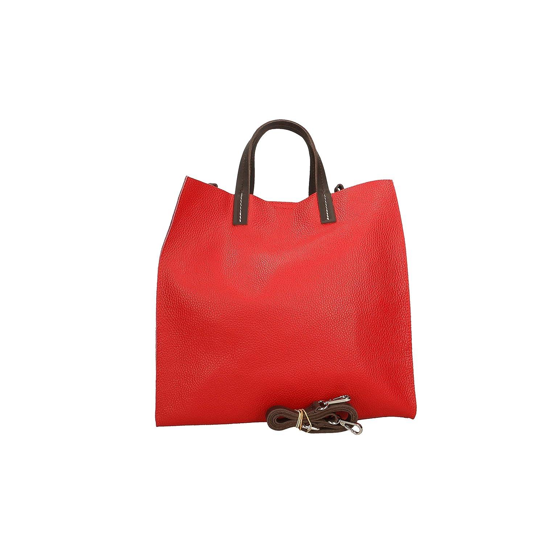 Aren Damen Handtasche aus Echtleder Made in Italy - 22x21x8 cm Rot