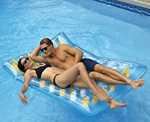 SUN Searcher Saint-Tropez Twin Tanner Inflatable Pool Lounger Mattress, 78-Inch for Two People