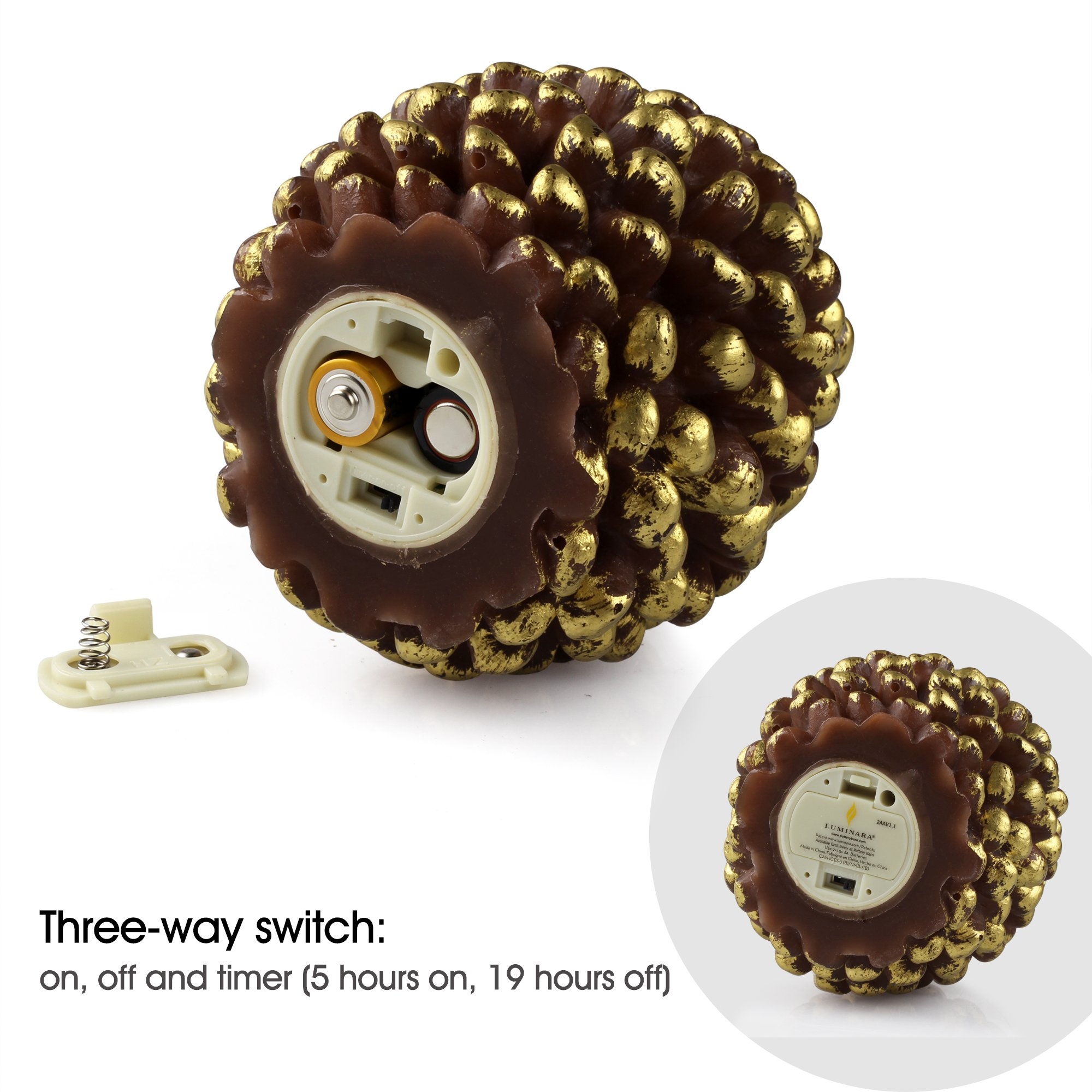 Luminara LED Flameless Candle, Flameless Real Pine Cone LED Candles for Home/Party/Halloween/Christmas/Wedding Decor with Timer Control, Battery Operated 3'' x 4.2''(Brown) by iDOO (Image #3)