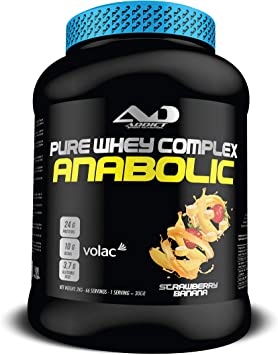 ADDICT SPORT NUTRITION AD - Proteína - Anabolic Whey Complex - Tri de suero 80% - 2 Kilos - Sabor Strawberry Banana