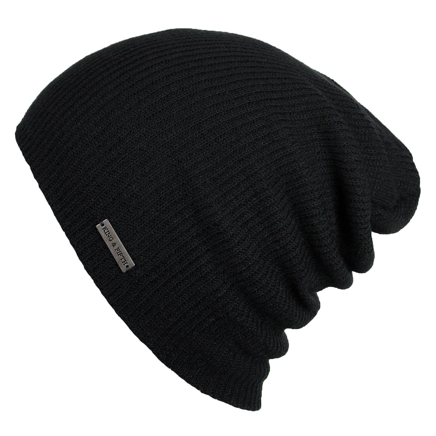 Summer Beanie by King & Fifth | Slouchy Beanie for Men & Women + Breathable Cotton Beanie and Perfect for Warm Weather + Lightweight Beanie Black