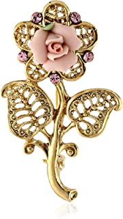 product image for 1928 Jewelry Gold-Tone Pink Crystal and Porcelain Rose Filigree Brooch