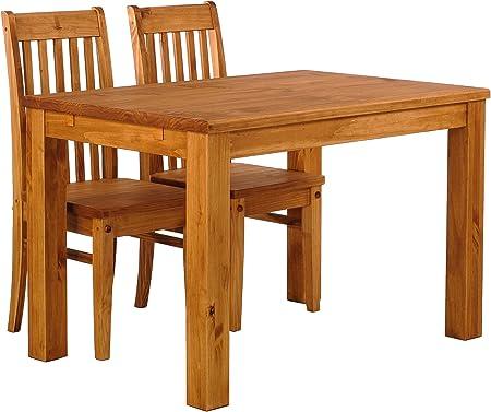 B.R.A.S.I.L.-Möbel TableChamp Juego de Mesa de Comedor para Dos, Rio Pine con 2 sillas, Madera Maciza de Miel, Extensiones Opcionales Extensibles: Amazon.es: Hogar