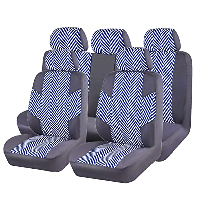 CAR PASS HOMESTYLE Linen Universal Fit Car Seat Covers with Opening Holes,Universal fit for Suvs,Cars,Trucks,Sedans,Vans,Airbag Compatible(Black with Dark Blue): Automotive