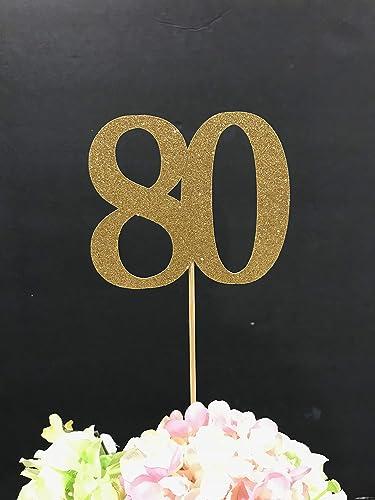 80th Birthday Decoration Centerpiece Sticks Glitter Table Anniversary Age Centerpieces