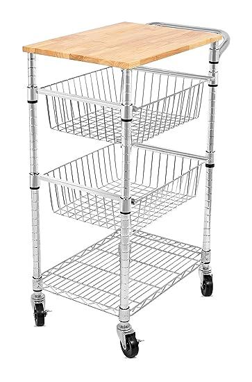 Internetu0027s Best 3 Tier Kitchen Cart With Wire Baskets | Kitchen Island  Trolley With Locking
