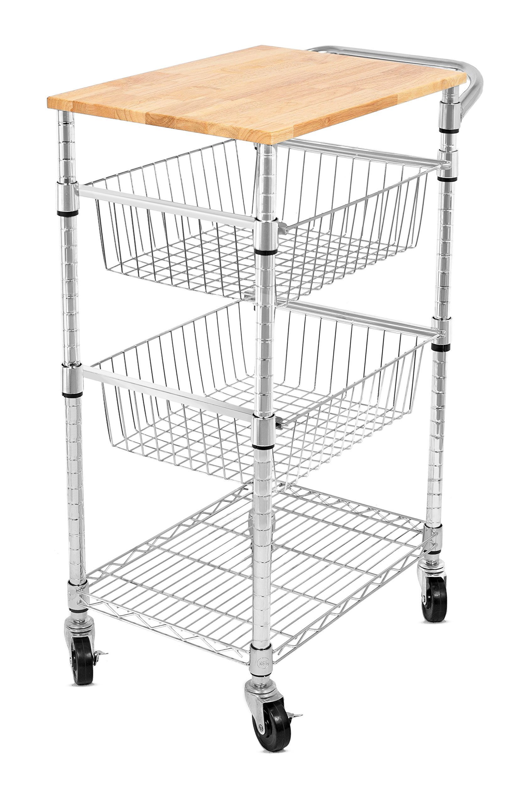 Internet's Best 3-Tier Kitchen Cart with Wire Baskets - Kitchen Island Trolley with Locking Wheels - Removable Cutting Board - 2 Sliding Wire Baskets for Cooking Utensils or Food Storage
