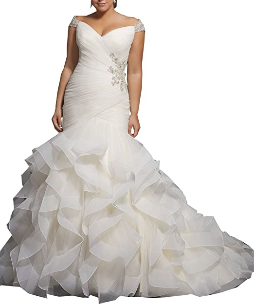 Women\'s Mermaid Wedding Dress Plus Size Wedding Gowns for Bride Cap Sleeve  Beaded Bridal Gowns