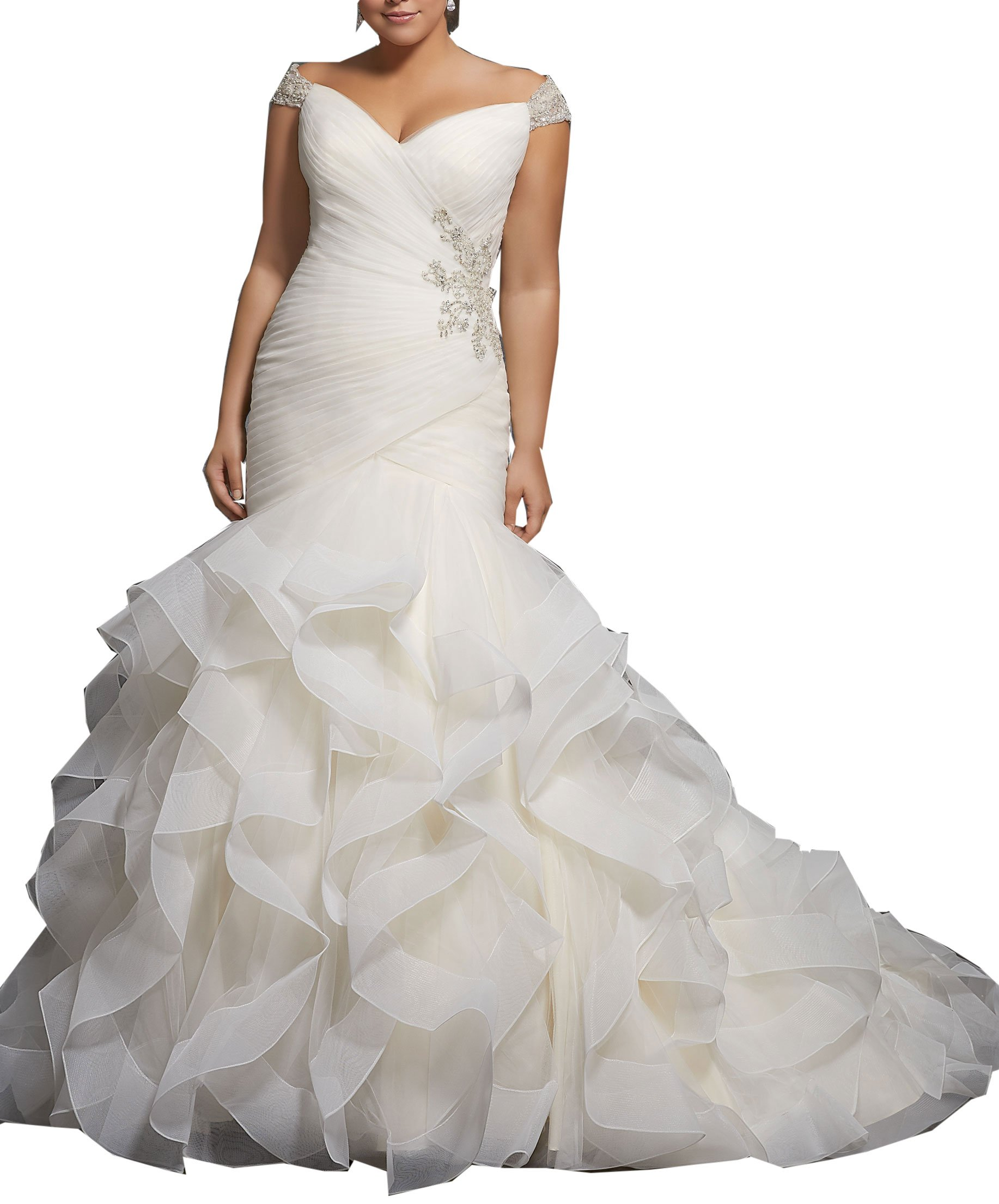 Women\'s Plus Size Mermaid Wedding Dresses for Bride with Long Train Beaded  Bridal Gown White 16