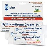 Hydrocortisone Maximum Strength Cream 1% with Aloe, 3 OZ (Compare to Cortizone-10) (3 x 1 OZ Tubes)