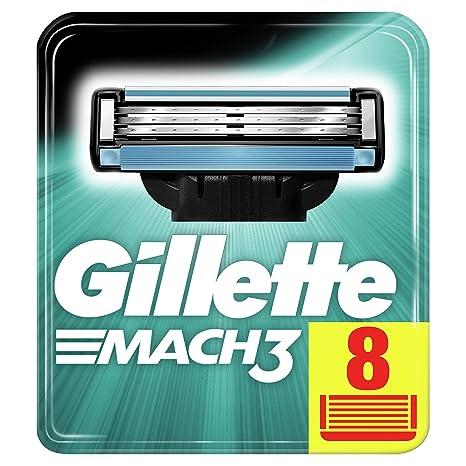Gillette Mach3 - Recambio de maquinilla de afeitar x 8, paquete apto para el buzón