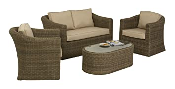 Maze Rattan 2 Seater Winchester Sofa Set Includes In A Rounded Weave    Natural Toned