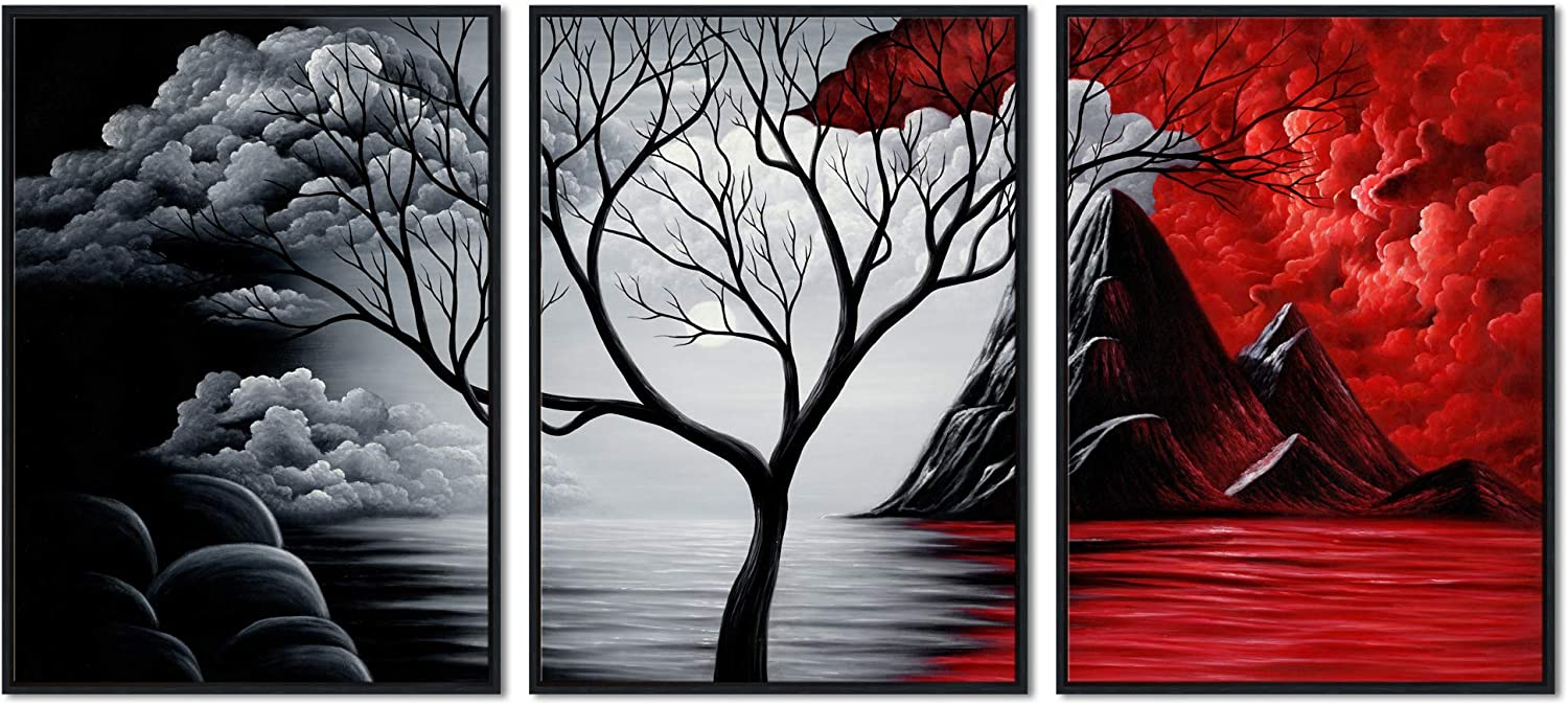 Wieco Art Extra Large Size Framed Canvas Art Prints Wall Art The Cloud Tree Abstract Pictures Paintings for Living Room Home Office Decorations Contemporary Artwork 3 Panels Black Frame WAB3006XL-BF