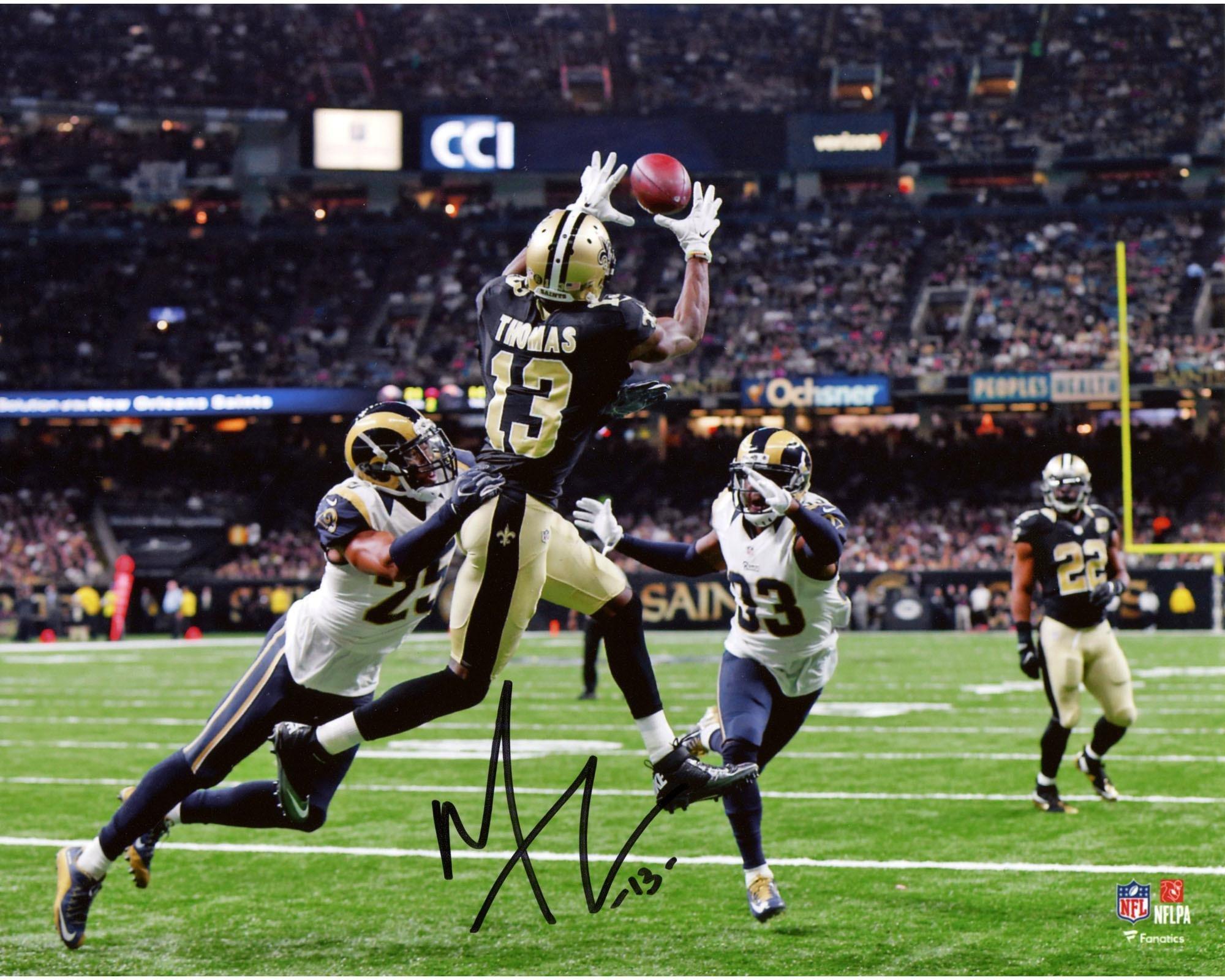 """Michael Thomas New Orleans Saints Autographed 8"""" x 10"""" Jump Catch Photograph Fanatics Authentic Certified"""