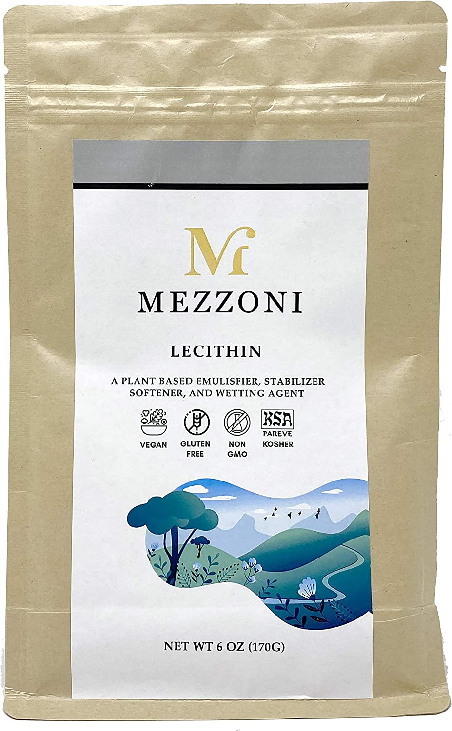 Mezzoni Foods Lecithin Powder – Plant-Based Emulsifier, Stabilizer, Softener, and Wetting Agent – Deoiled Sunflower Lechithin Powder – Non-GMO and Preservative-Free
