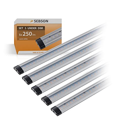 SEBSON® 5x LED sottopensile luce calda, dimmerabile, 30cm, Touch ...